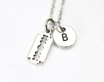 Razor Blade Necklace, Silver Razor Blade Charm, Barber Charm, Barber Gift, Beauty Gift, Mom Gift, Best Friend Gift, Personalized Gift,  N143