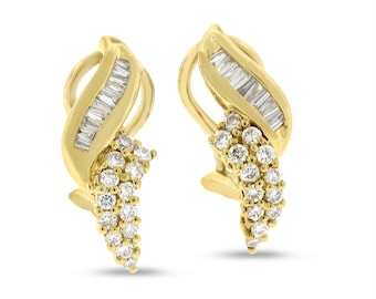 1.01 CT Natural Diamond Round & Baguette Fashion Earrings in Solid 14k Yellow Gold