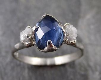 Partially faceted Montana Sapphire Diamond 14k White Gold Engagement Ring Wedding Ring Custom blue Gemstone Ring Multi stone Ring 1183
