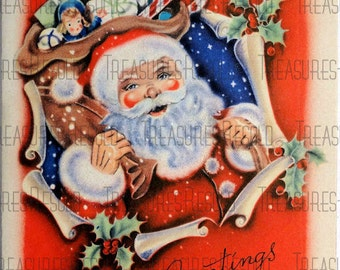 Vintage Santa Claus Christmas Card #80 Digital Download