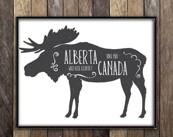 Alberta Moose Decor -  Canadian Art - Moose Antlers Hunting Lodge Decor - Made in Canada Edmonton Calgary Fort McMurray Alberta Poster