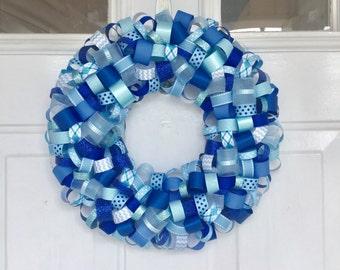 Ribbon Wreath - 13 inch / Blue / Baby Shower / Boy Birthday