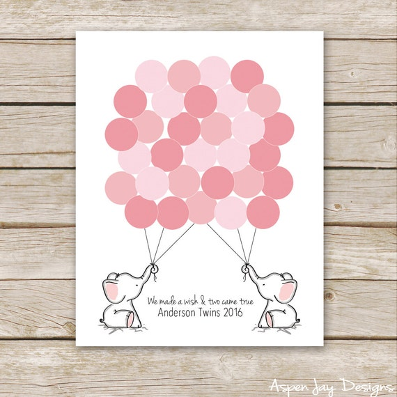 Twin Pink Elephant Balloon Signature Guest Book For Baby