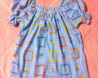 70s Vintage Colorful Floral Boho Top, Colorful Vintage Floral Blouse Top, 70s Vintage Floral Blouse, Colorful Floral Shirt