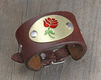 Red Rose Bracelet, Brass on Leather