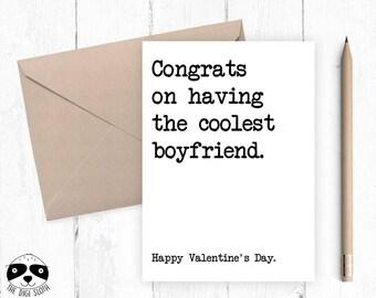 Funny Valentine Card, Anniversary Love Card, Valentine's Day, Congrats On Having The Coolest Boyfriend, Card For Boyfriend Girlfriend,  Y036