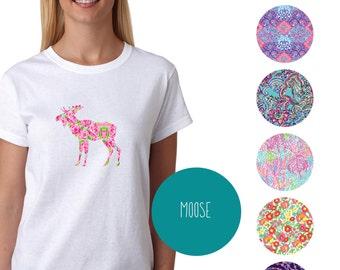 moose Tshirt - Lilly Pulitzer Inspired - Paisley
