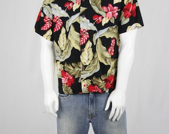 Vintage Hawaiian Shirt Black and Red Floral Cotton by Howie M