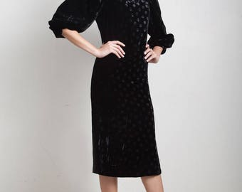 vintage 80s black velvet dress polka dot puff sleeves side high slit EXTRA SMALL XS