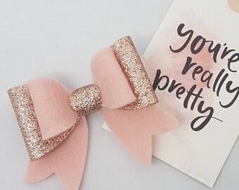 Pink Felt Bow Hair Clip