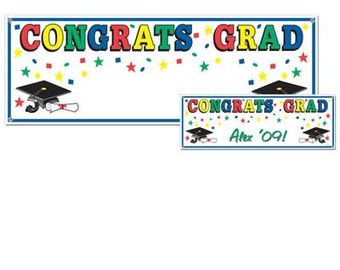 Congrats Grad Banner Graduation open house party supplies decorations party supplies has a place to personalize