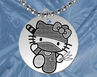 Personalized! Kitty NINJA Necklace for Kids, Personalized FREE with Name! Boy or Girl