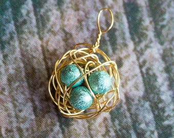 Gold Wire Nest Charm