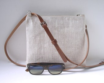 CrossBody Bag, Simple CrossBody Purse, Linen Crossbody bag