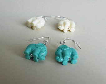 Turquoise Elephant Earrings - White Elephant Earrings - Elephant Earrings - Elephant Dangles - Elephant Jewelry - Valentines Gift for her