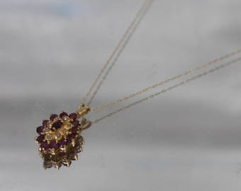 14k - Diamond & Pink Topaz Cluster Pendant with thin Chain Necklace in Yellow Gold