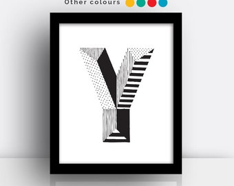 Letter Y print - hand drawn typeface