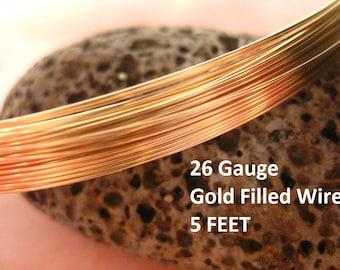 26 G Ga Gauge Wire 14K Gold Filled Round Wire Half Hard 14/20GF 5 FEET