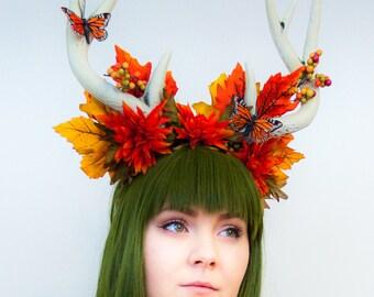 Fall Antler Faun Headdress