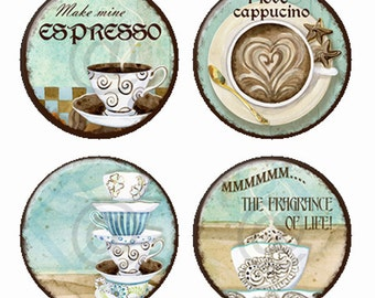 The Fragrance of Life Coffee  Magnets or Pinback Buttons or Flatback Medallions Set of 4