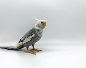 Needle felted Whiteface Cockatiel, fiber sculpture, bird art
