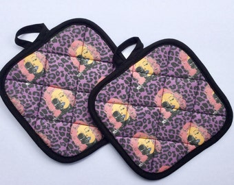 Zombie Marilyn Monroe Leopard Print  Pinup Pot Holders  *Ready to Ship