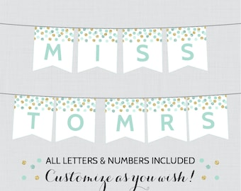Printable Banner with ALL Letters and Numbers - Mint and Gold Bridal Shower Decorations - Mint and Gold Bridal Shower Banner 0001-M