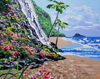 Beach art / oil painting / seascape / tropical / wall decor / flowers / colorful painting / textured wall art / coastal wall art / beach