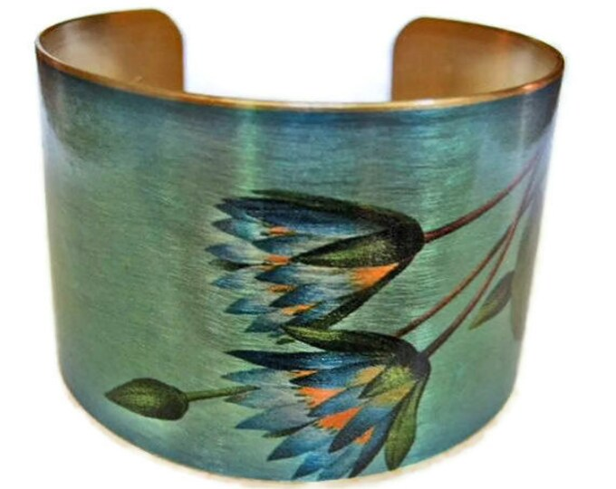 Bridal cuff bracelet wedding Bridesmaid gift  Blue Lotus (Symbolizes strength and love) Brass Bridesmaids gift