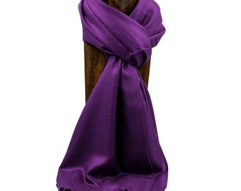 Pashmina, Scarf, Shawl Eggplant Purple or Any Solid Color