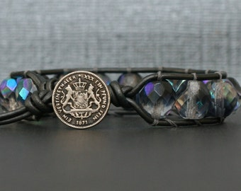 single wrap bracelet - half grey aurora borealis crystal on pewter leather - gunmetal grey gray silver