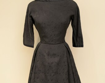 "1960s ""Annette"" Black Brocade 3/4 Sleeve Exposed Back Hourglass Dress"
