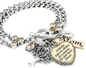 Mothers Quote Bracelet - Mothers Day Bracelet - Quote about Mom - Gift to Wife - Sister Mothers Day Bracelet - Silver and Gold