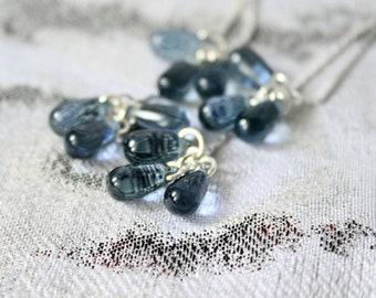 cluster earrings blue-gray teardrop earrings gift wife sterling silver light blue purple jewelry elegant statement gray пя139