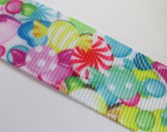 Pretty multi-colored candy print grosgrain Ribbon