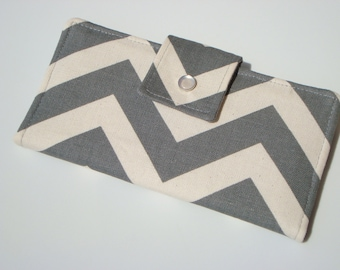 BiFold Long Wallet Clutch /Checkbook Cover - Gray and Neutral Chevron / Zig Zag