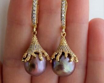 Artisan lavender pearl earrings