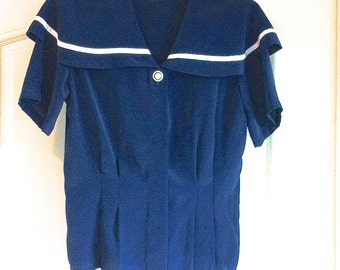 NEW Size 8 Navy Sailor Fitted Waist Polyester Short Sleeve Blouse Top