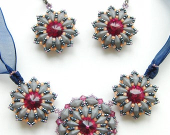 Sophie necklace and earrings - instant download beading pattern