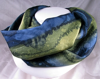 Scarf, Silk Scarf - Hand Painted Scarf, OOAK Scarf  - Navy Olive 14x72