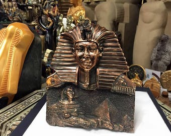 Vintage Hand Copper Wash Egyptian Sphinx Statue  Made In Egypt
