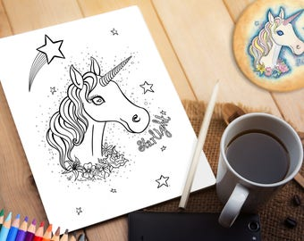 Printable Colouring Page - Unicorn - Cute Fantasy Mythical Creature Magical Pastel Goth Kawaii Pretty Rose Daffodil Flowers Adult Kids