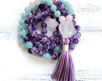 Amethyst Mala Beads 108, Amazonite Mala Necklace, Knotted Mala, Tassel Necklace, Yoga Jewery Meditation Beads Spiritual Jewelry Boho Jewelry