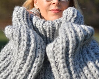 ORDER handmade chunky sweater handknit wool jumper thick pullover bulky Tneck sweater soft wool sweater hand knitted gray Dukyana