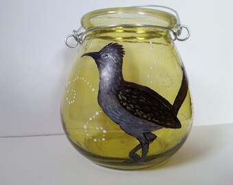 Hand Painted Glass Candle holder Roadrunner