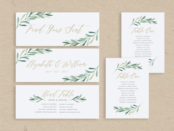 Greenery Wedding Seating Chart Template Seating Plan Seating