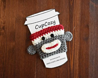 Sock Monkey Cup Cozy, Cup Sleeve, Coffee Cozy, Sock Monkey, Beverage Cozy, Cup Cozy, Beverage Sleeve, Drink Cozy, Crochet