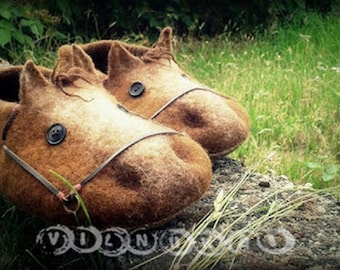 Wool felted slippers horses