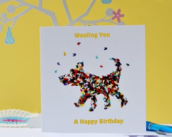 Dog Happy birthday card, Dog lovers card, New Dog card, New Puppy Card, Butterfly Birthday Dog Card, Childrens  Dog Happy Birthday Card