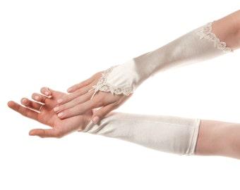 Fingerless Wedding Gloves White Wedding Gloves Fingerless Gloves White Bridal Gloves Fingerless Bridal Gloves White Gloves Lace Gloves Satin
